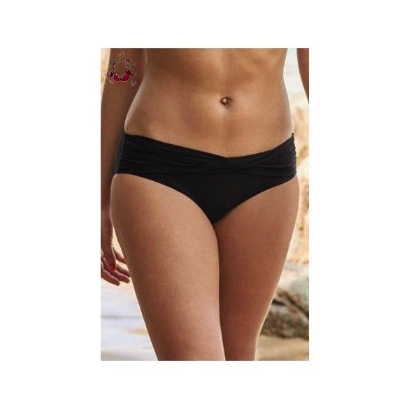 Csavart derekú bikini alsó, fekete